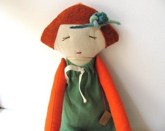 Cotton doll. Handmade.Child friendly.Recycled.soft Toy.Fabric Doll..red green orange.