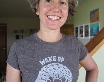 Women's hand-printed possum t-shirt on cotton/poly blend.