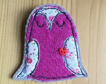 Owlie Harris tweed brooch, applique pin, embroidered brooch, pink owl brooch pin, tweed brooch, made in Scotland