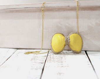 Yellow Bow Necklace Sea Shells and Twine