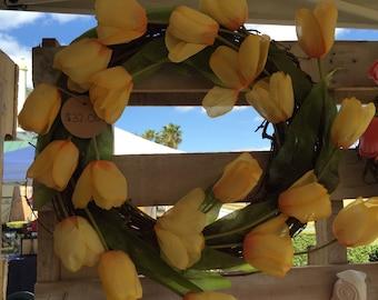 Spring Tulip Wreath - Flower Wreath - Yellow - Grapevine Wreath - Tulip Wreath - Spring Wreath - Spring Decor - Summer Wreath
