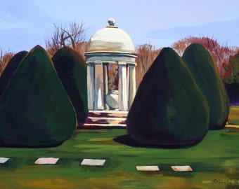 Maine Landscape Painting Woodlawn Cemetery