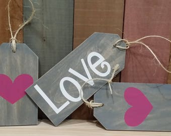 Valentines Day Decorative Wooden Tags~ Set of 3