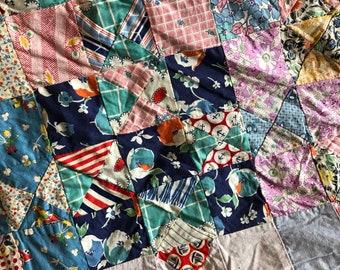 Vintage feedsack quilt top