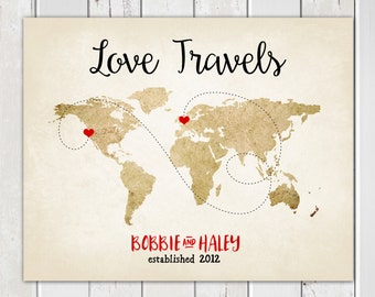 Love travels etsy long distance relationship anniversary gift for her personalized world map military deployment gumiabroncs Gallery