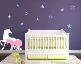 Unicorns Nursery Wall Decal with Stars