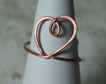 Handmade solid copper adjustable HEART finger ring, one piece (item ID R131SC)