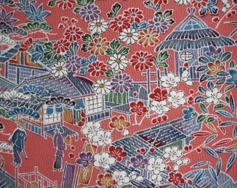 Vintage Japanese kimono fabric - Yuzen Rural Landscape Tango chirimen silk kimono fabric