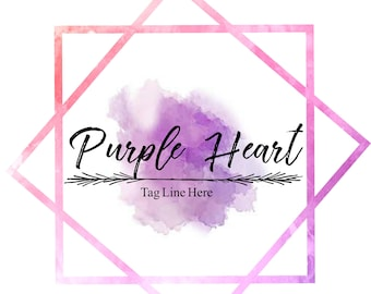 Pre-made Logo Design - Pink And Purple Watercolor Logo, Photography Logo, Customizable Logo, Small Business Logo, Business Branding