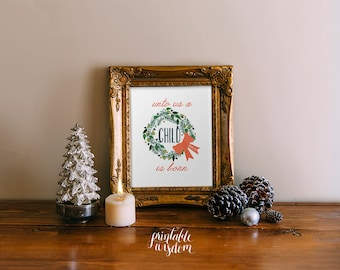 Christmas Bible Verse decor wall art printable bible verse scripture print decoration holiday print, Christian INSTANT DOWNLOAD Christmas