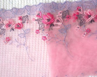 Dark Pink Tulle Lace Trim Retro Floral Embroidered Lace Trim 5.5 Inches Wide Costume Supplies