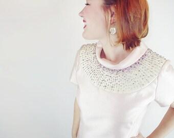 60s Nat Kaplan Ice Pink Silk/Wool Blend Dress, Rhinestone and Sequin Neckline M L