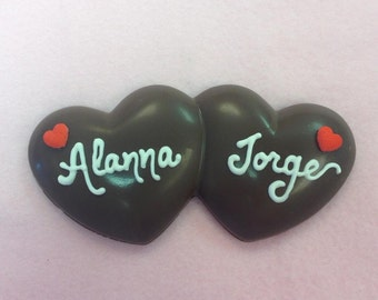 Personalized Chocolate Hearts