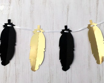 Feather Shape Banner. Black and Gold Party garland. Wild one, tribal, boho, baby shower, birthday party, wedding, engagment.