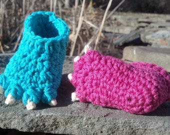 Crochet Pattern - Quick and Easy Cute Monster or Animal Foot Baby Booties