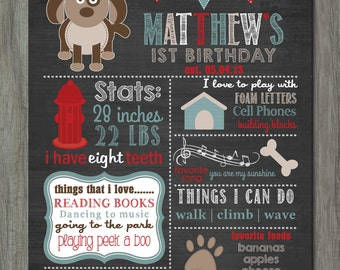 First Birthday Chalkboard Poster, First Birthday Milestone Chalkboard, Printable Chalkboard Poster, Puppies, Doggies, Dog, Puppy