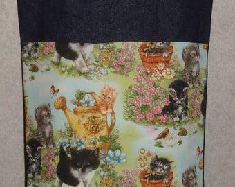 New Small Handmade Cat Kittens Whimsical Garden Pet Denim Tote Bag
