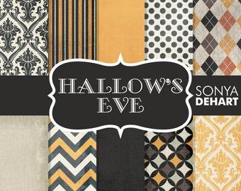 Halloween Papers, Scrapbook Halloween, Vintage Halloween, Halloween Chevron, Orange Black Papers, Damask Halloween
