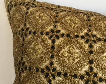 Hand embroidery/sequin decorative pillow for couch