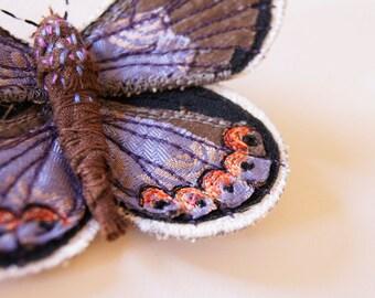 Karner Blue Butterfly Brooch Textile Fiber Art Endangered Species Entomology Nature Lover Woodland Wildlife Embroidered New Hampshire