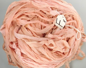 Sari silk ribbon, CHIFFON sari ribbon, Silk Chiffon ribbon, peach sari ribbon, tassel supply, knitting supply, weaving supply, Cottage chic