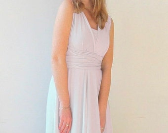Infinity Dress knee length  in ice color Bridesmaid  dress with matching tube top