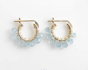 Tiny Aquamarine Hoop Earrings ~ March Birthday ~ 14K GF Hoop Earrings ~ 10mm or 12mm ~  Birthstone Earrings ~ Bridesmaid Gift ~ Aquamarine