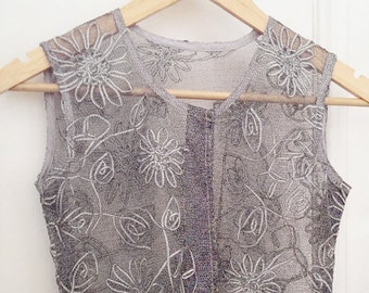 silver net tunic shift dress silver flower appliques M
