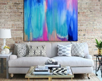 Abstract art print, abstract print, modern art abstract, minimalist painting, from original abstract painting, blue, pink, white,