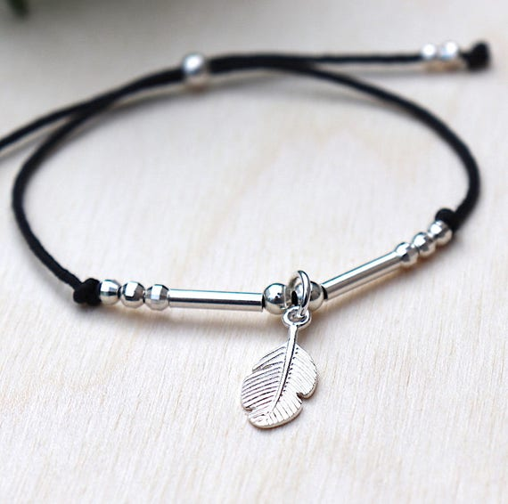 choice of String Bracelet feather bracelet and 925 sterling silver beads