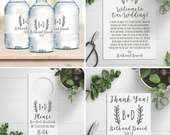Wedding Welcome Bag Kit,  Destination Wedding, Wedding Favors, Welcome Bags, Water Bottle Labels, Door Hangers
