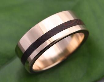 Size 9, 8mm READY TO SHIP Equinox Nacascolo 14k Yellow Gold Wood Ring - ecofriendly wood wedding band, 14k yellow gold wood wedding ring