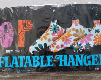 Vintage 70s Flower Power Inflatable Hangers New in Package Set of 3