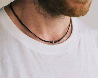 Karma necklace for men, men's necklace with a silver round ball bead, black cord. gift for him, minimalist jewelry, necklace, men jewelry