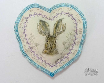 Jackalope and Harebell Wish Pocket or Wedding Pillow, Textile Hand Painted Fine Art OOAK