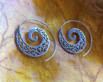 Spiral tribal earrings