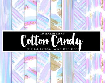 """COTTON CANDY Digital Paper Pack,  Abstract Backgrounds, Brush Strokes Papers, Cotton Candy Colors, 10"""" JPG Instant Download, 10 Papers"""