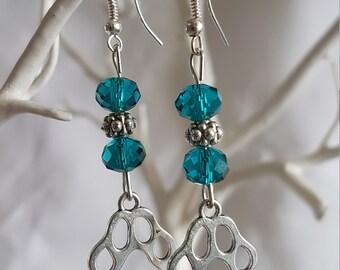 Paw Print & Jade Green Bead Earrings