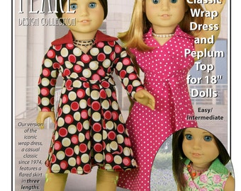 L&P #1031: Classic Wrap Dress and Peplum Top Pattern for 18 inch dolls — retro style in three easy-to-make lengths