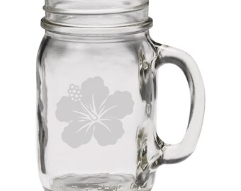 Pretty Budding Flower 12 oz Hand Etched Glass Mason Jar Mug