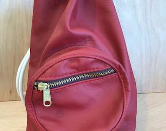 Handmade genuine leather drawstring duffle bucket bag rucksack handmade England, high quality red leather