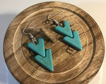 Turquoise Chevron Dangle Earrings || Arrow Earrings || Boho Earrings