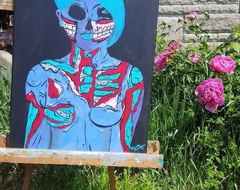 Pop Art Acrylic Painting Zombie Chick