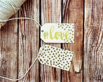 Engagment party decor, set of 25 custom handmade paper bridal shower or wedding labels, confetti polka dot tags, DIY wedding, blush gold tag