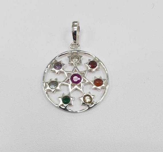 Sterling silver heptagram pendant 7 pointed star 26mm aloadofball Gallery