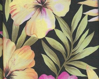 "2 Yards -TROPICAL FLOWER FABRIC - Floral Stretch Gorgette. 2 yards x 60"" wide"