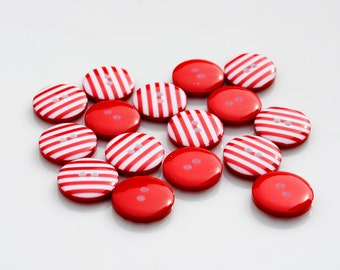 10 Red Stripy Buttons (12mm)
