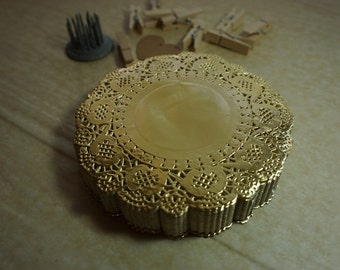 """20 Metallic Golden Round Paper Lace Doilies 4.5"""" (115mm) *special occasion*"""