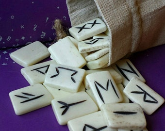 Bone Runes, Elder Futhark Rune Set, Viking Runes for your Divination, Rune set in a muslin bag with instructions, Witchcraft, Wicca Supply