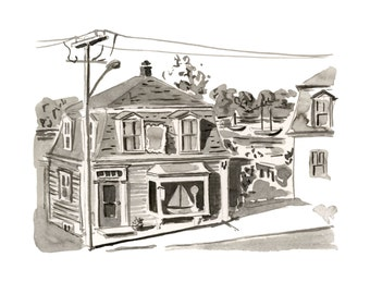 "Boat Shop, Lunenburg, Nova Scotia, Houses, Kitchen Art, Black and White - Limited Edition Art Print India Ink original -  8"" x 10"""